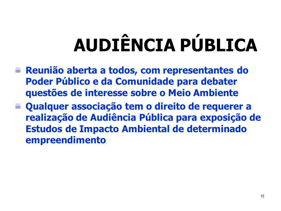 18 AUDIÊNCIA PÚBLICA Reunião aberta a todos, com representantes do Poder Público e da Comunidade para debater questões de interesse sobre o Meio Ambie