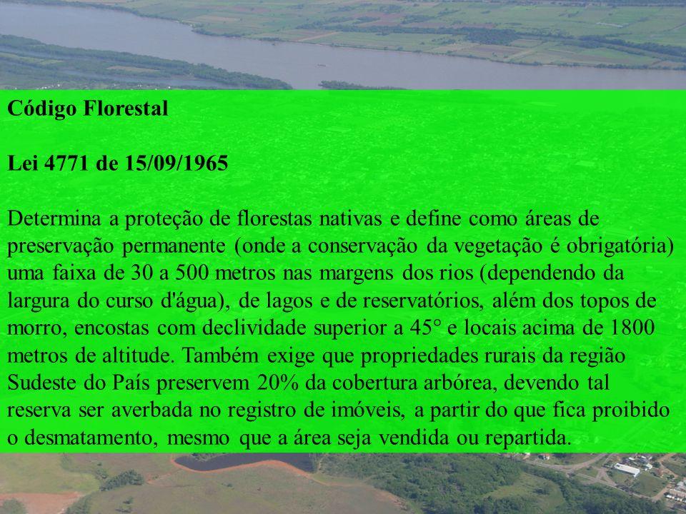 Código Florestal Lei 4771 de 15/09/1965 Determina a proteção de florestas nativas e define como áreas de preservação permanente (onde a conservação da