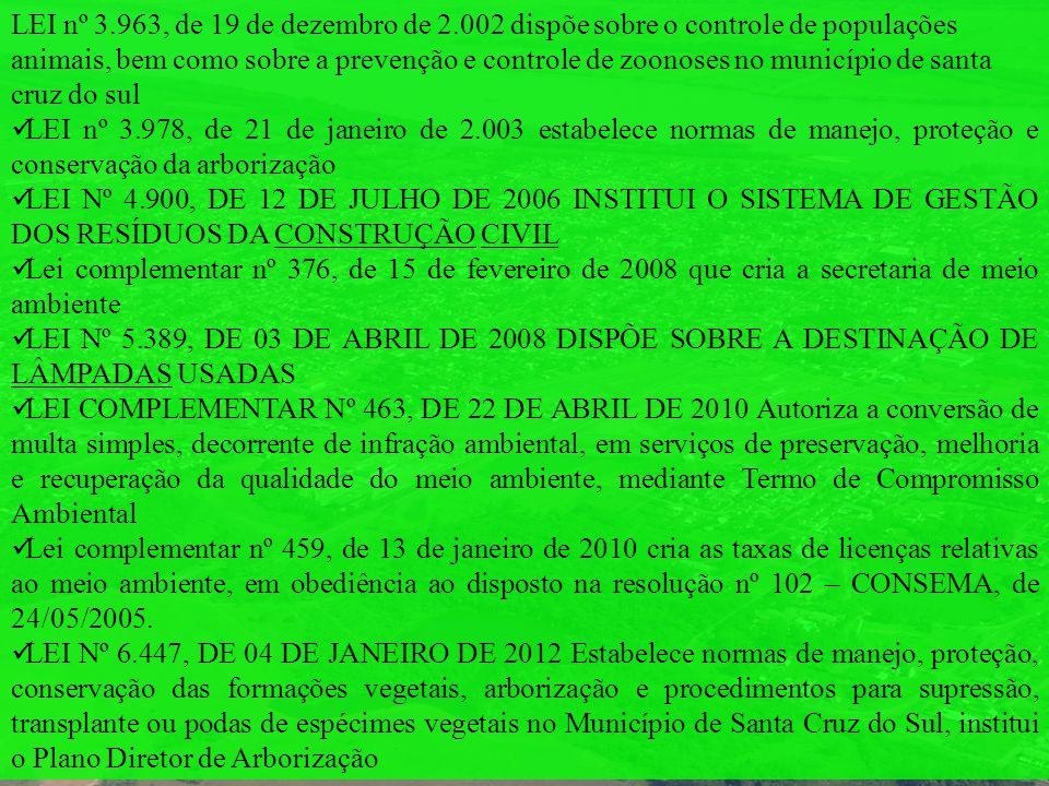 LEI nº 3.963, de 19 de dezembro de 2.002 dispõe sobre o controle de populações animais, bem como sobre a prevenção e controle de zoonoses no município