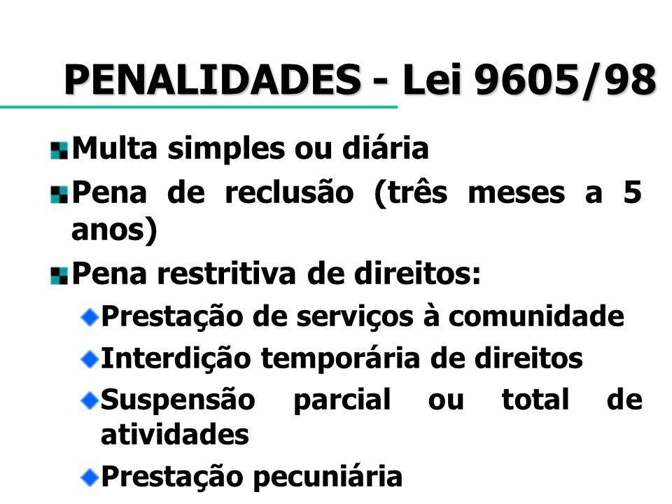 PENALIDADES - Lei 9605/98 Multa simples ou diária Pena de reclusão (três meses a 5 anos) Pena restritiva de direitos: Prestação de serviços à comunida