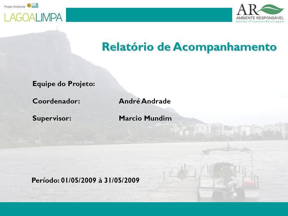 Pag. 2 Relatório de Acompanhamento Equipe do Projeto: Coordenador: André Andrade Supervisor:Marcio Mundim Período: 01/05/2009 à 31/05/2009