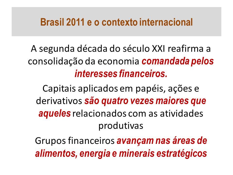 Brasil 2011 e o contexto internacional A segunda década do século XXI reafirma a consolidação da economia comandada pelos interesses financeiros. Capi