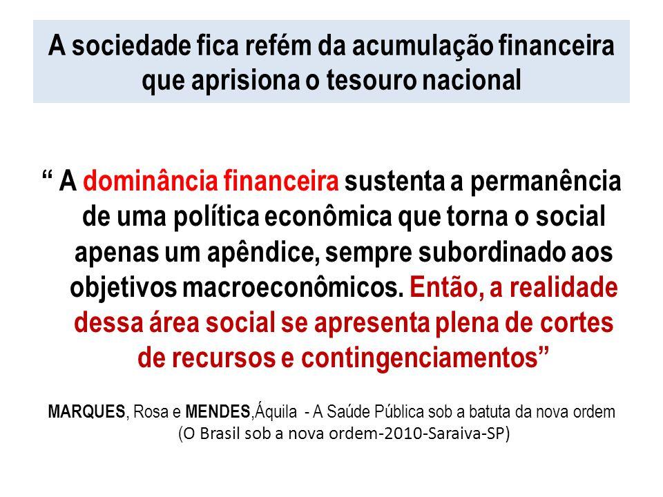A sociedade fica refém da acumulação financeira que aprisiona o tesouro nacional A dominância financeira sustenta a permanência de uma política econôm