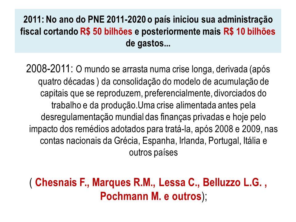2011: No ano do PNE 2011-2020 o país iniciou sua administração fiscal cortando R$ 50 bilhões e posteriormente mais R$ 10 bilhões de gastos... 2008-201