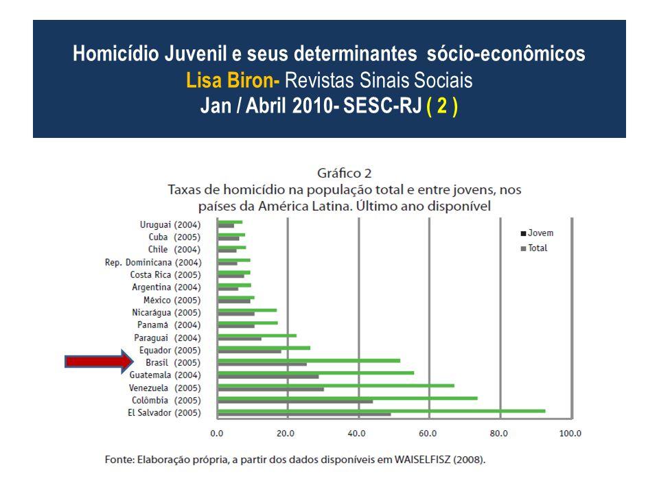 Homicídio Juvenil e seus determinantes sócio-econômicos Lisa Biron- Revistas Sinais Sociais Jan / Abril 2010- SESC-RJ ( 2 )