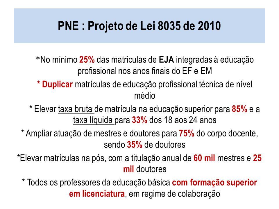 PNE : Projeto de Lei 8035 de 2010 * No mínimo 25% das matriculas de EJA integradas à educação profissional nos anos finais do EF e EM * Duplicar matrí
