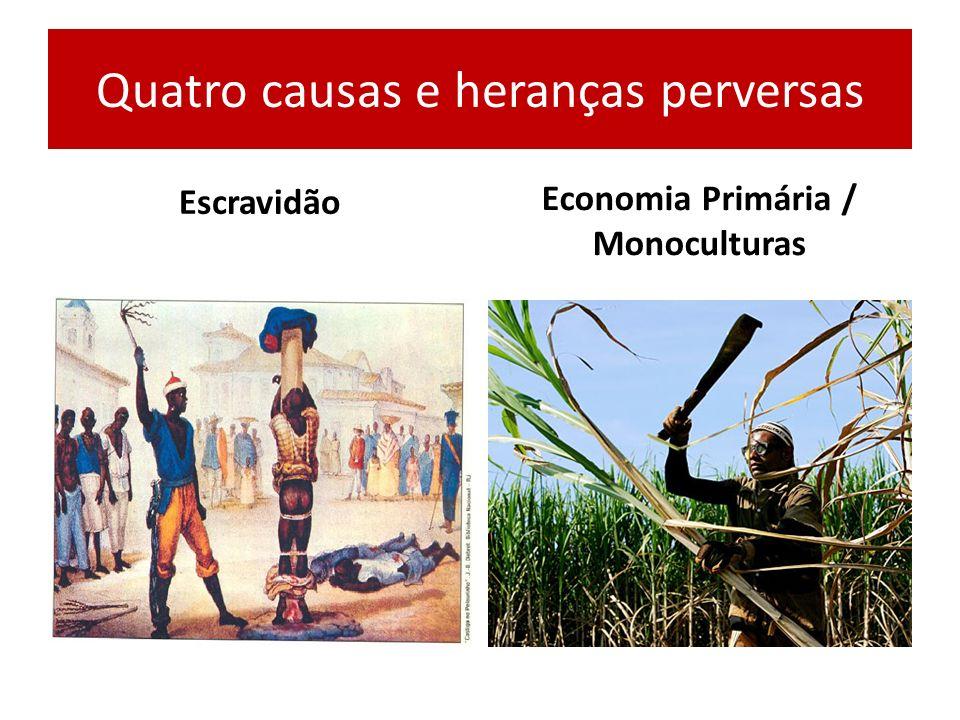 Quatro causas e heranças perversas Escravidão Economia Primária / Monoculturas