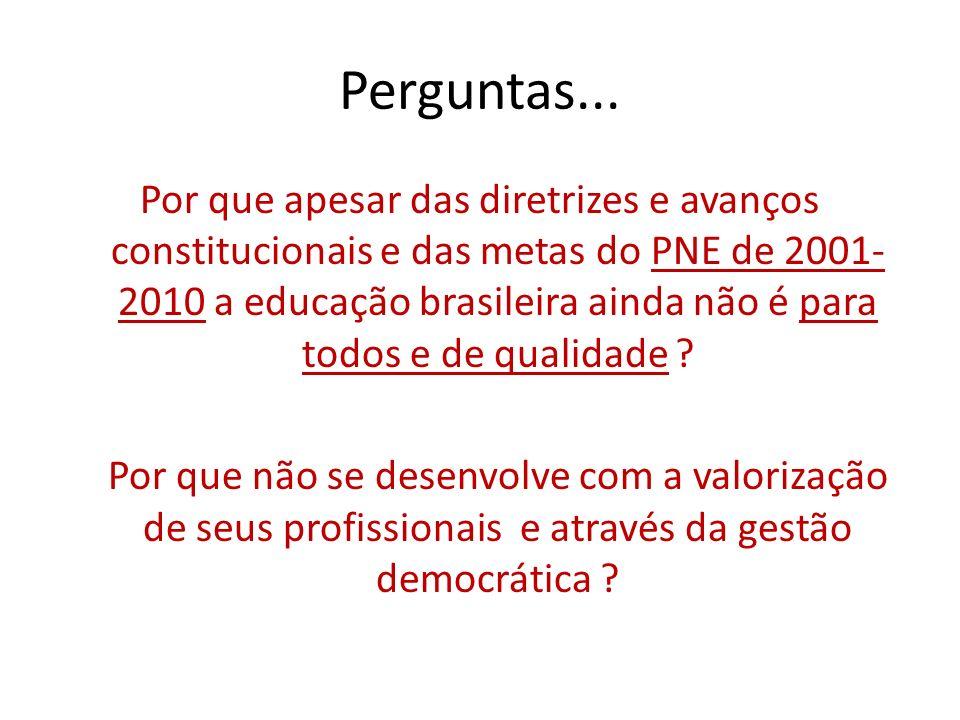 Perguntas... Por que apesar das diretrizes e avanços constitucionais e das metas do PNE de 2001- 2010 a educação brasileira ainda não é para todos e d