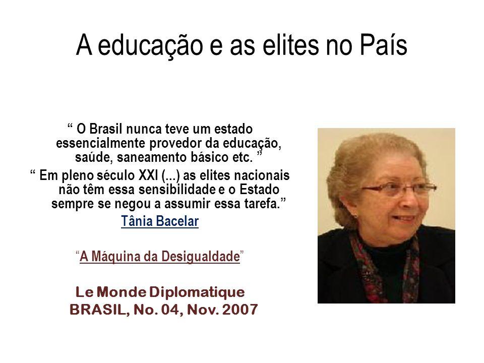 A educação e as elites no País O Brasil nunca teve um estado essencialmente provedor da educação, saúde, saneamento básico etc. Em pleno século XXI (.