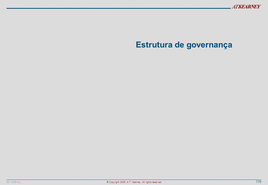 119 55/10056/dtp© Copyright 2005, A.T. Kearney. All rights reserved Estrutura de governança
