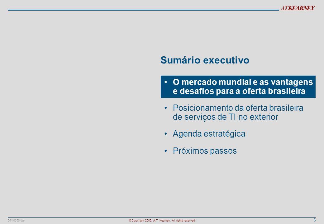6 55/10056/dtp© Copyright 2005, A.T. Kearney. All rights reserved Sumário executivo O mercado mundial e as vantagens e desafios para a oferta brasilei
