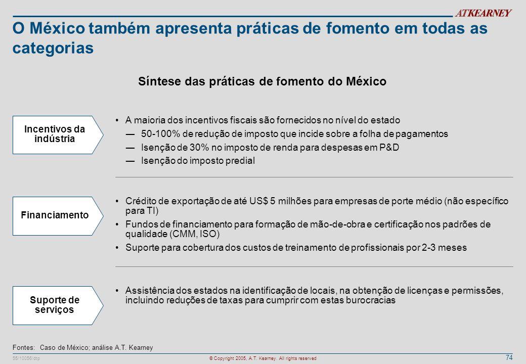 74 55/10056/dtp© Copyright 2005, A.T. Kearney. All rights reserved O México também apresenta práticas de fomento em todas as categorias Fontes:Caso de