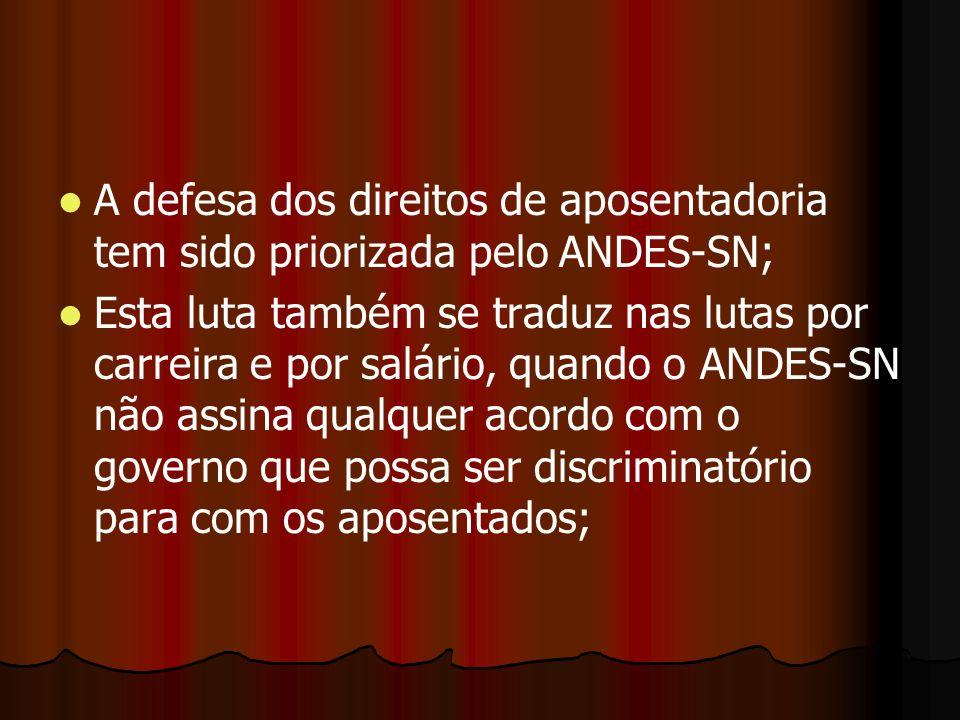 A defesa dos direitos de aposentadoria tem sido priorizada pelo ANDES-SN; Esta luta também se traduz nas lutas por carreira e por salário, quando o AN