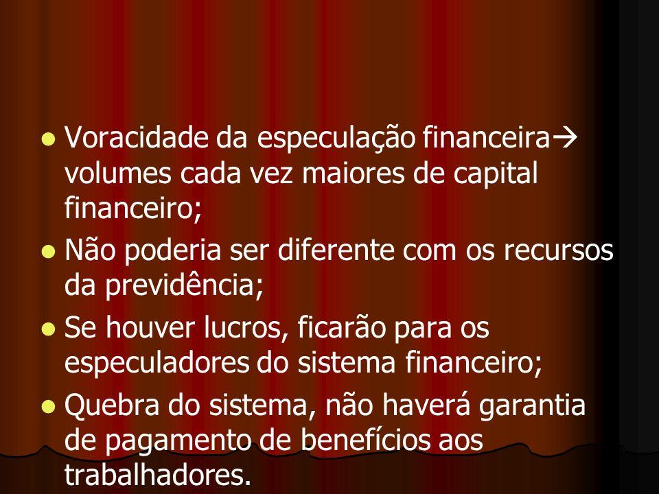 Voracidade da especulação financeira volumes cada vez maiores de capital financeiro; Não poderia ser diferente com os recursos da previdência; Se houv