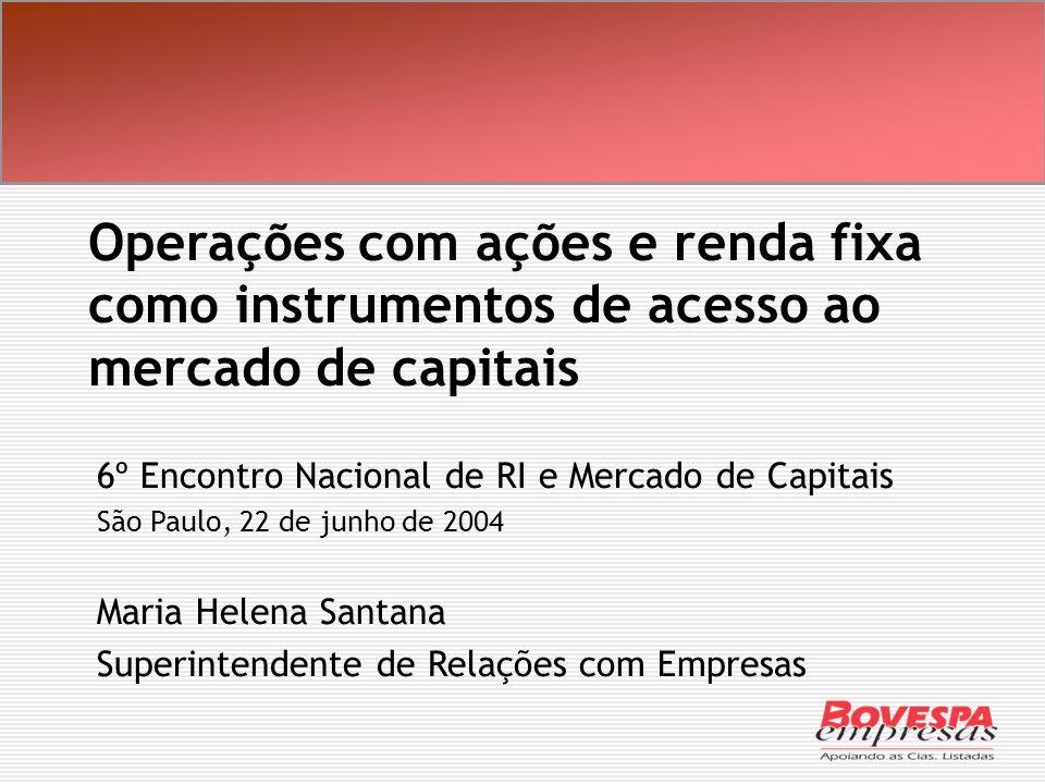 Operações com ações e renda fixa como instrumentos de acesso ao mercado de capitais 6º Encontro Nacional de RI e Mercado de Capitais São Paulo, 22 de