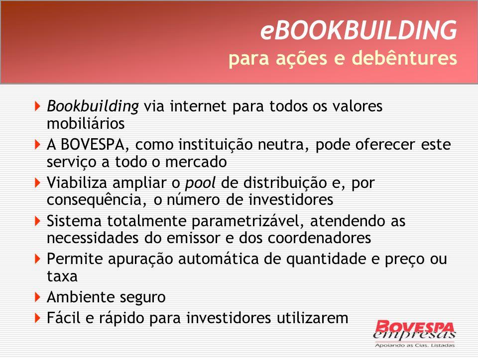 eBOOKBUILDING para ações e debêntures Bookbuilding via internet para todos os valores mobiliários A BOVESPA, como instituição neutra, pode oferecer es