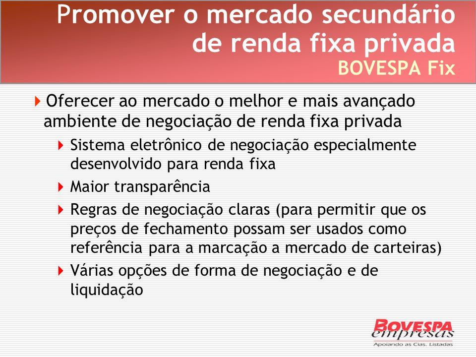 Promover o mercado secundário de renda fixa privada BOVESPA Fix Oferecer ao mercado o melhor e mais avançado ambiente de negociação de renda fixa priv