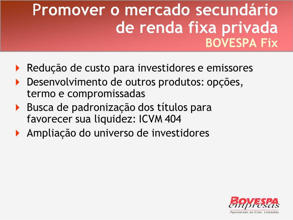 Promover o mercado secundário de renda fixa privada BOVESPA Fix Redução de custo para investidores e emissores Desenvolvimento de outros produtos: opç