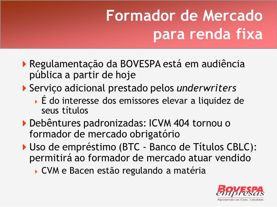 Formador de Mercado para renda fixa Regulamentação da BOVESPA está em audiência pública a partir de hoje Serviço adicional prestado pelos underwriters
