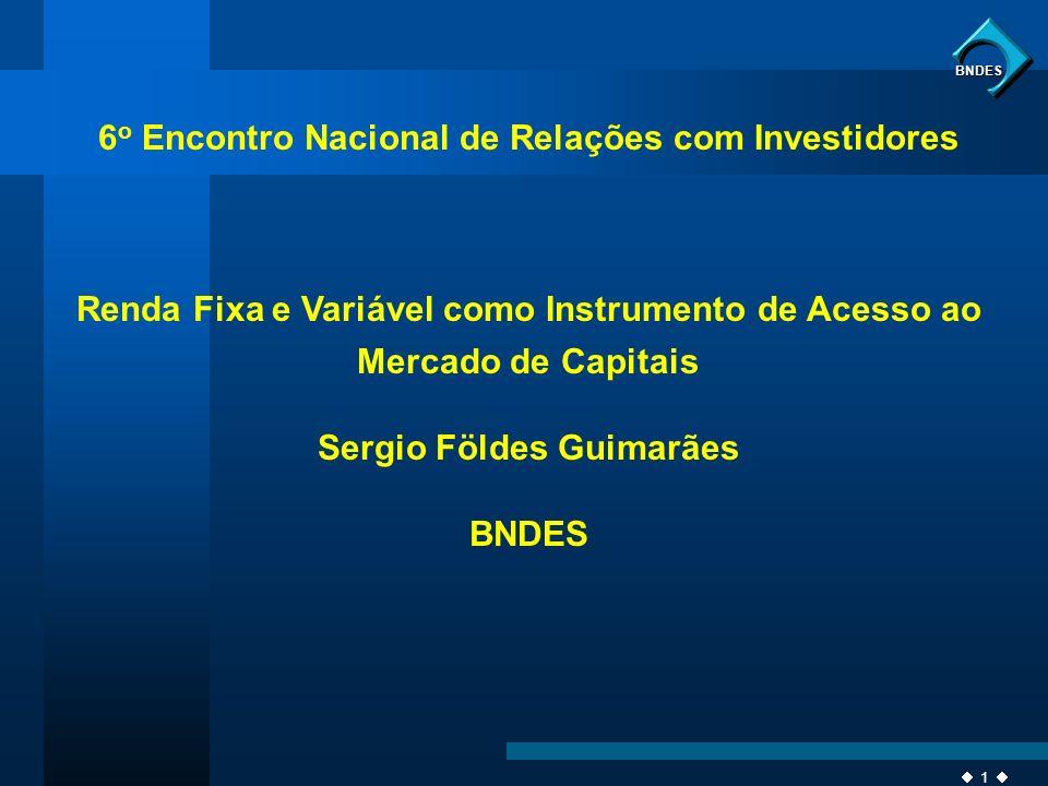 1 BNDES 6 o Encontro Nacional de Relações com Investidores Renda Fixa e Variável como Instrumento de Acesso ao Mercado de Capitais Sergio Földes Guima