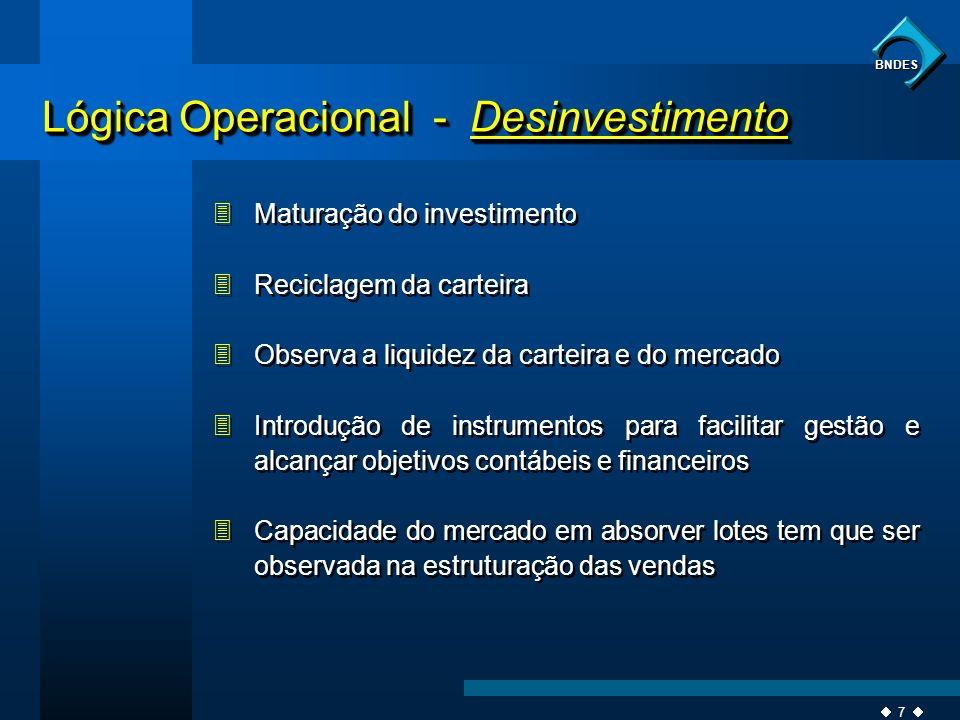 7 BNDES 3Maturação do investimento 3Reciclagem da carteira 3Observa a liquidez da carteira e do mercado 3Introdução de instrumentos para facilitar ges