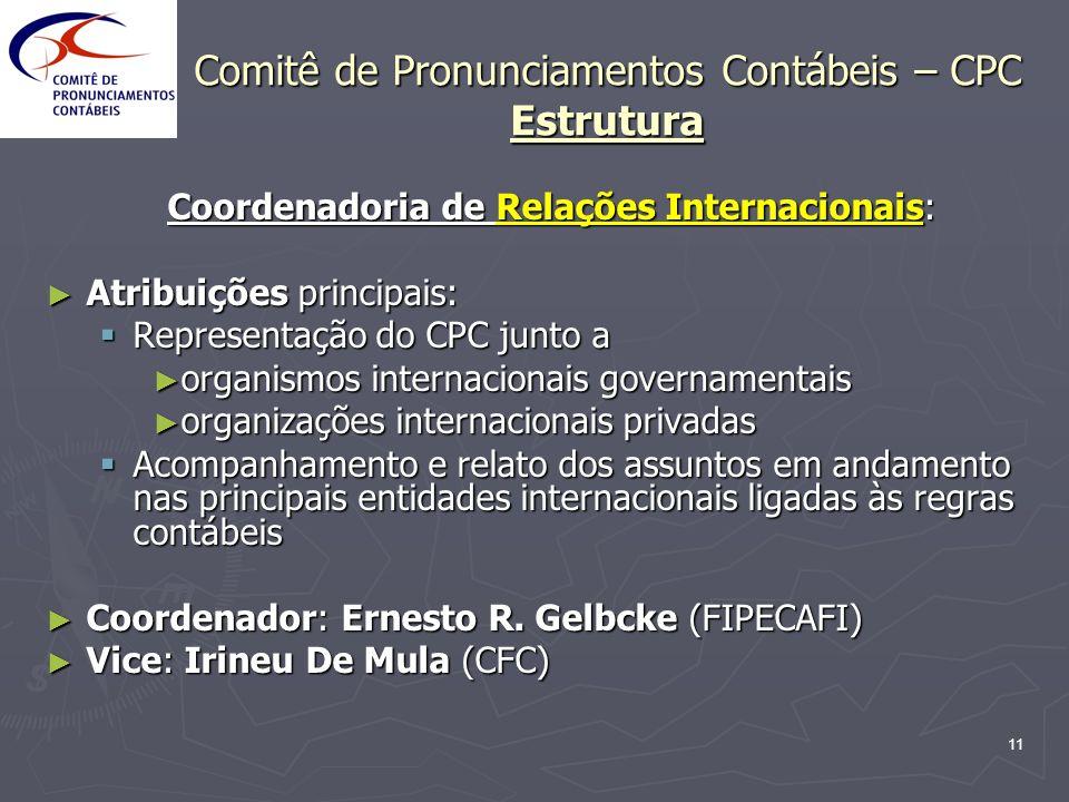 11 Comitê de Pronunciamentos Contábeis – CPC Estrutura Coordenadoria de Relações Internacionais: Atribuições principais: Atribuições principais: Repre