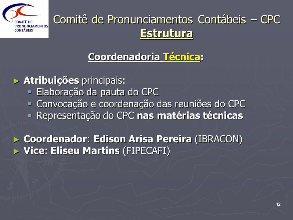 12 Comitê de Pronunciamentos Contábeis – CPC Estrutura Coordenadoria Técnica: Atribuições principais: Atribuições principais: Elaboração da pauta do C