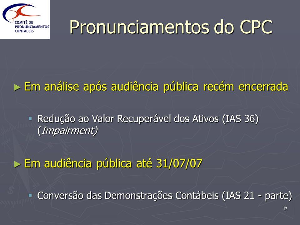 17 Pronunciamentos do CPC Em análise após audiência pública recém encerrada Em análise após audiência pública recém encerrada Redução ao Valor Recuper