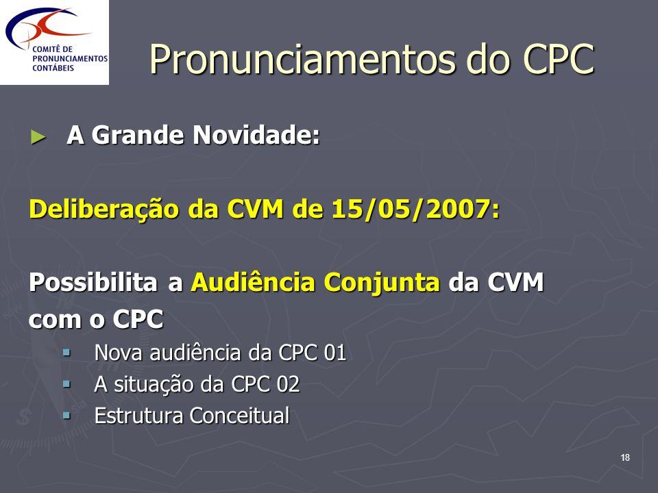 18 Pronunciamentos do CPC A Grande Novidade: A Grande Novidade: Deliberação da CVM de 15/05/2007: Possibilita a Audiência Conjunta da CVM com o CPC No