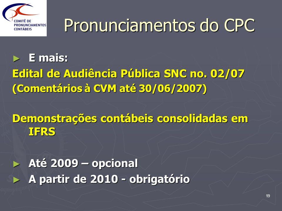 19 Pronunciamentos do CPC E mais: E mais: Edital de Audiência Pública SNC no. 02/07 (Comentários à CVM até 30/06/2007) Demonstrações contábeis consoli