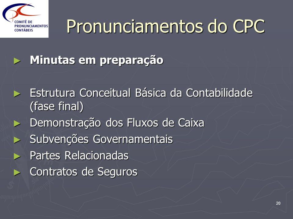 20 Pronunciamentos do CPC Minutas em preparação Minutas em preparação Estrutura Conceitual Básica da Contabilidade (fase final) Estrutura Conceitual B