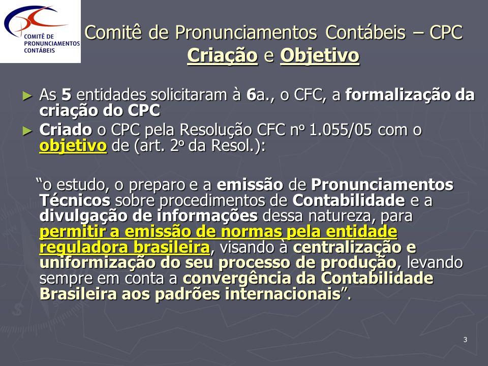 4 Comitê de Pronunciamentos Contábeis - CPC Características básicas: O CPC é totalmente autônomo das entidades representadas, deliberando por 2/3 dos seus membros O CPC é totalmente autônomo das entidades representadas, deliberando por 2/3 dos seus membros O CFC fornece a estrutura necessária O CFC fornece a estrutura necessária As 6 entidades compõem o CPC, mas outras poderão vir a ser convidadas futuramente As 6 entidades compõem o CPC, mas outras poderão vir a ser convidadas futuramente Os membros do CPC, 2 por entidade, na maioria Contadores, não auferem remuneração Os membros do CPC, 2 por entidade, na maioria Contadores, não auferem remuneração
