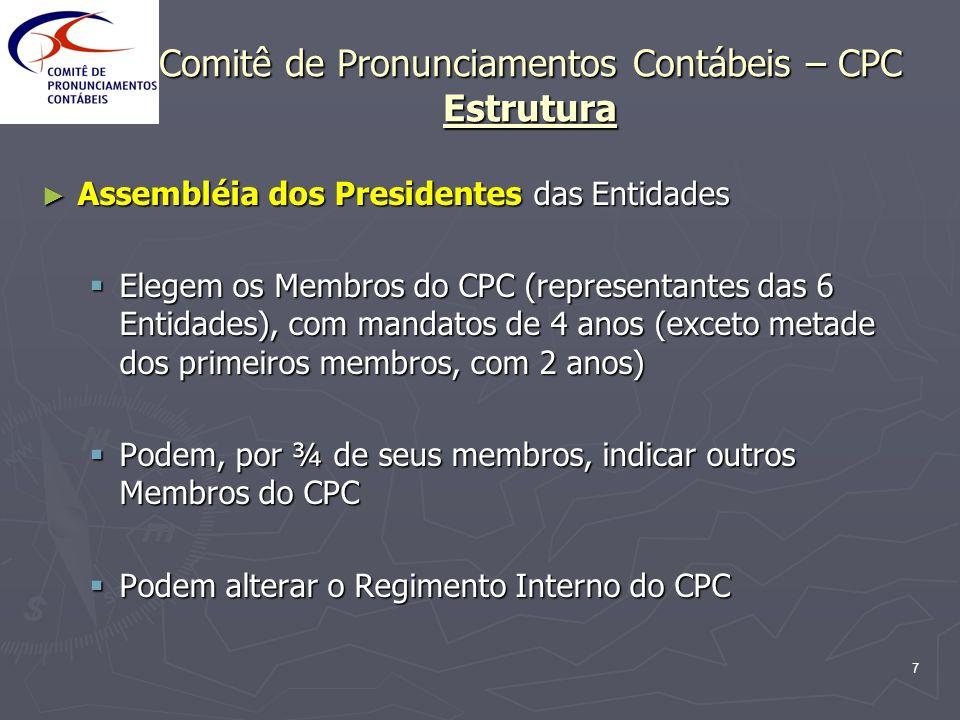 7 Comitê de Pronunciamentos Contábeis – CPC Estrutura Assembléia dos Presidentes das Entidades Assembléia dos Presidentes das Entidades Elegem os Memb