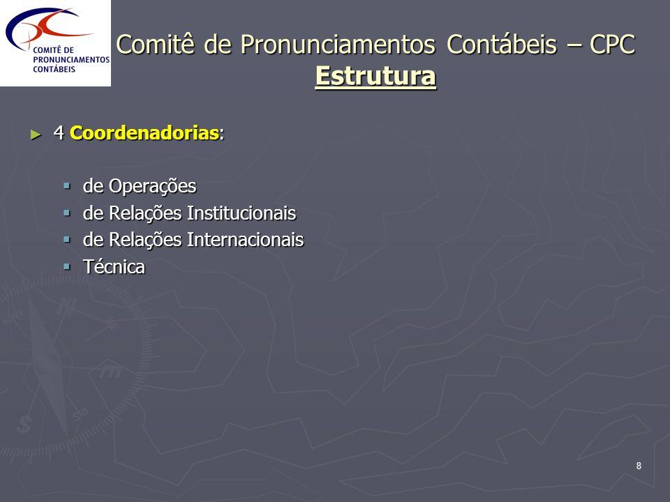 8 Comitê de Pronunciamentos Contábeis – CPC Estrutura 4 Coordenadorias: 4 Coordenadorias: de Operações de Operações de Relações Institucionais de Rela
