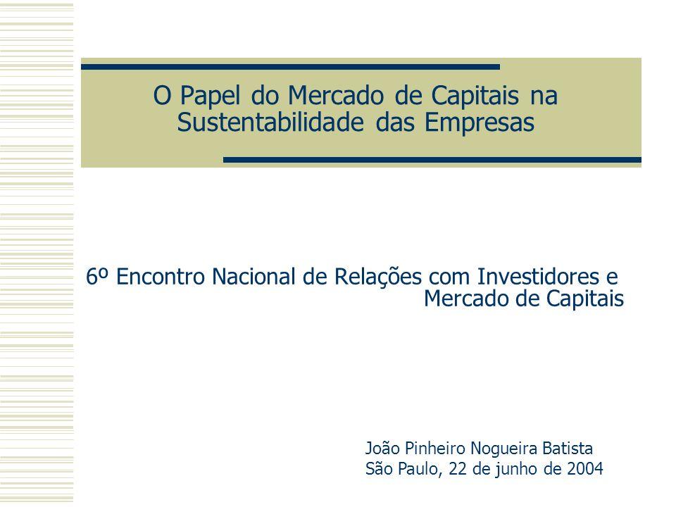 O Papel do Mercado de Capitais na Sustentabilidade das Empresas 6º Encontro Nacional de Relações com Investidores e Mercado de Capitais João Pinheiro