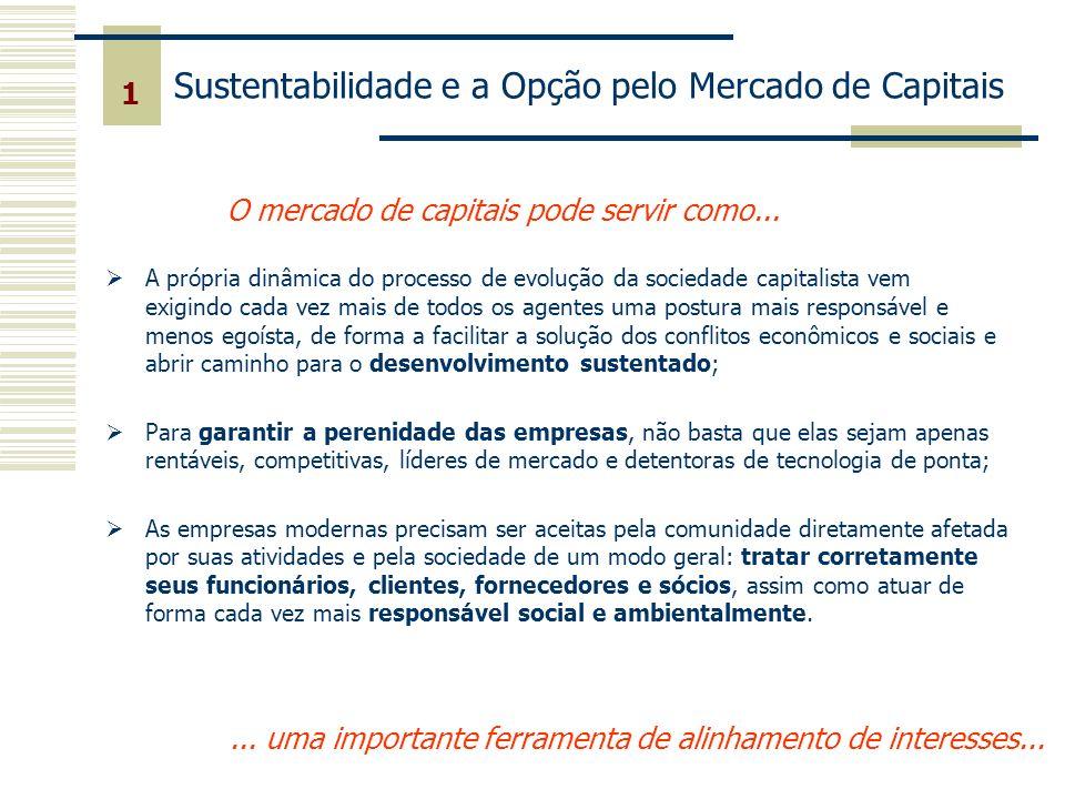 1 O mercado de capitais pode servir como...... uma importante ferramenta de alinhamento de interesses... Sustentabilidade e a Opção pelo Mercado de Ca