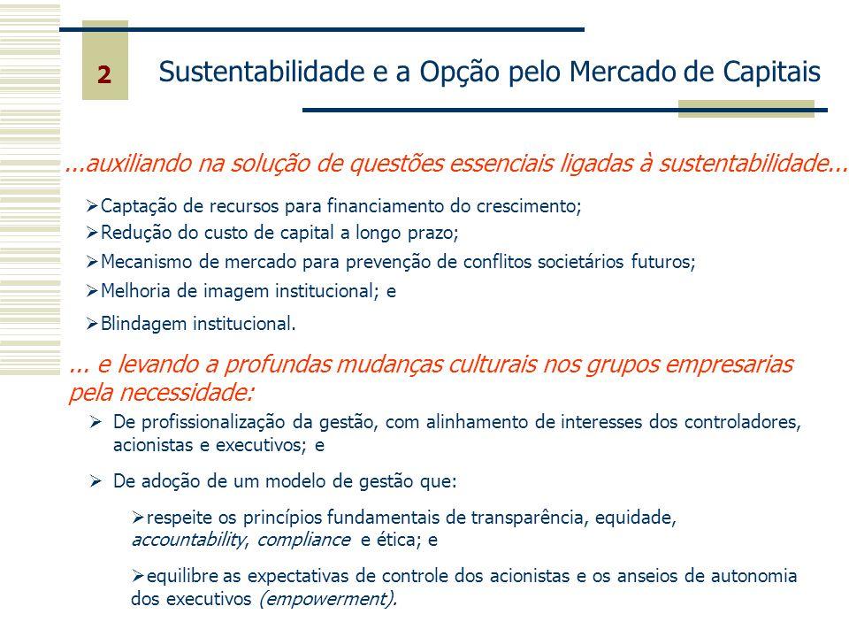 2 Sustentabilidade e a Opção pelo Mercado de Capitais...auxiliando na solução de questões essenciais ligadas à sustentabilidade... Captação de recurso