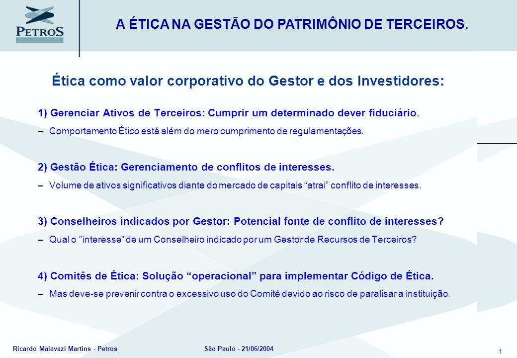 1 Ricardo Malavazi Martins - PetrosSão Paulo - 21/06/2004 Ética como valor corporativo do Gestor e dos Investidores: 1) Gerenciar Ativos de Terceiros: