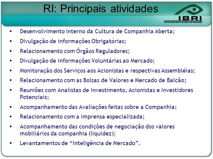Desenvolvimento interno da Cultura de Companhia Aberta; Divulgação de informações Obrigatórias; Relacionamento com Órgãos Reguladores; Divulgação de I