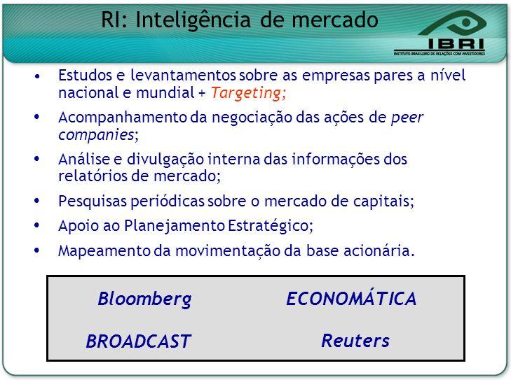 Estudos e levantamentos sobre as empresas pares a nível nacional e mundial + Targeting; Acompanhamento da negociação das ações de peer companies; Anál