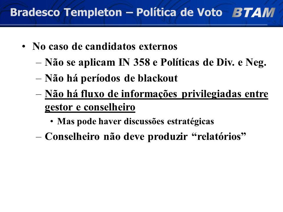Bradesco Templeton – Política de Voto No caso de candidatos externos –Não se aplicam IN 358 e Políticas de Div.