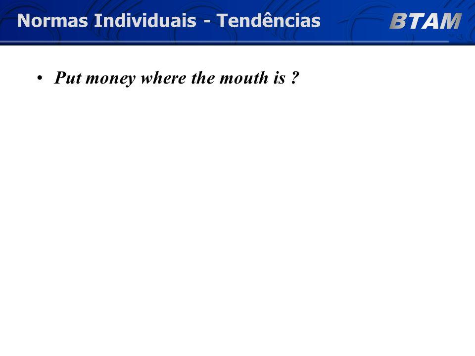 Put money where the mouth is Normas Individuais - Tendências