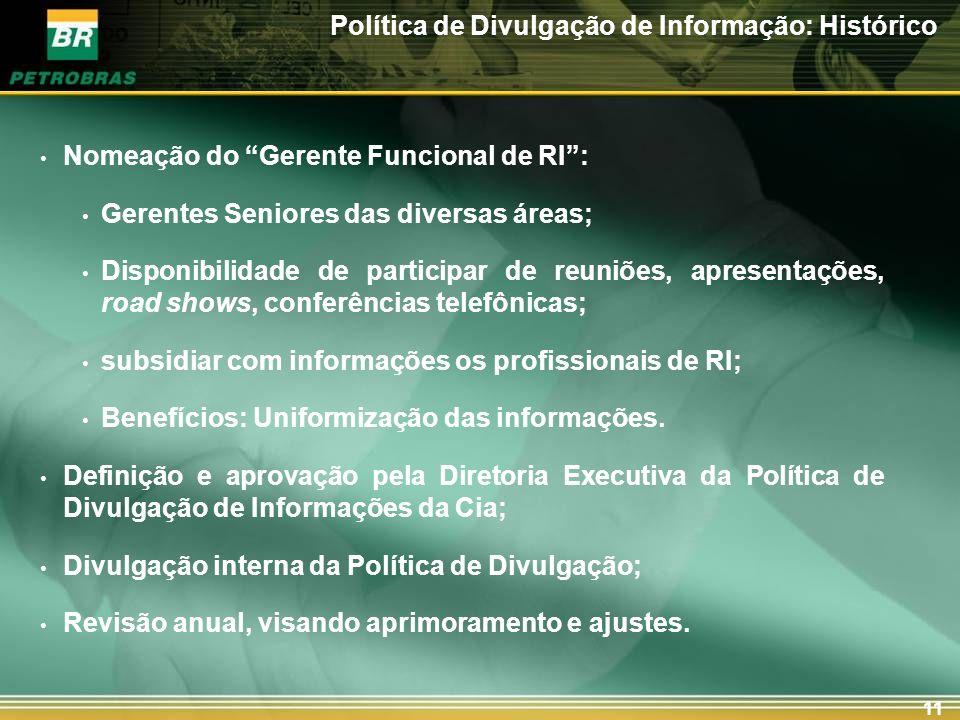 11 Política de Divulgação de Informação: Histórico Nomeação do Gerente Funcional de RI: Gerentes Seniores das diversas áreas; Disponibilidade de parti