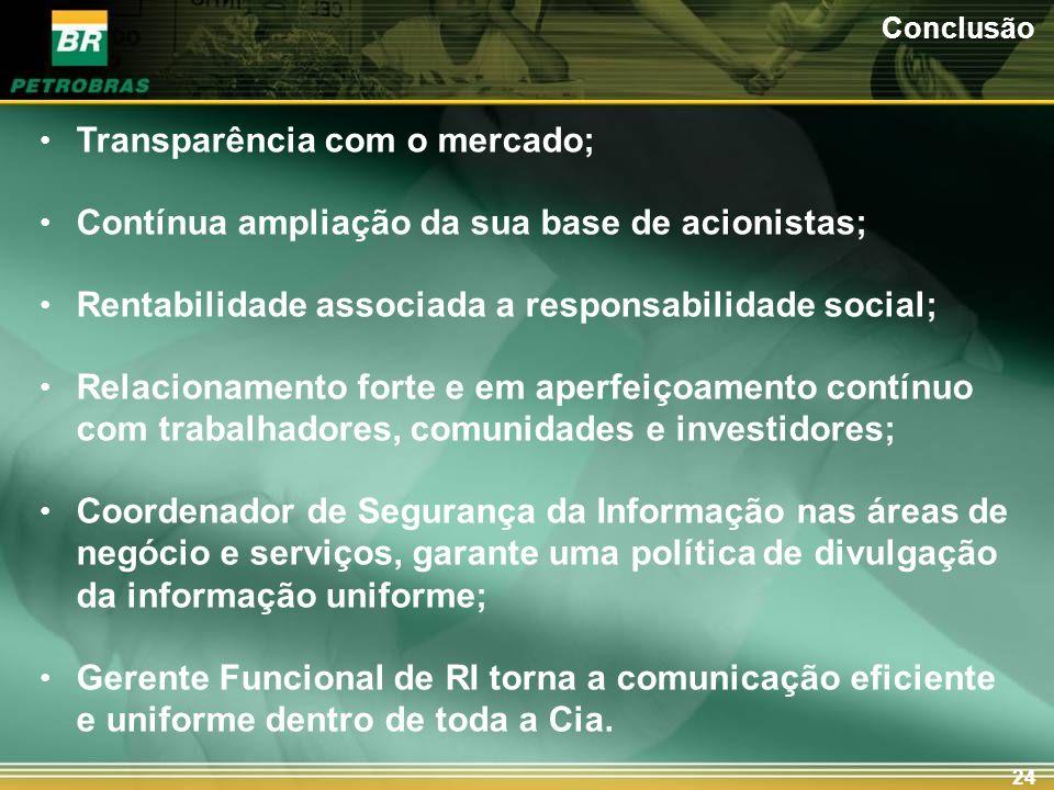24 Transparência com o mercado; Contínua ampliação da sua base de acionistas; Rentabilidade associada a responsabilidade social; Relacionamento forte