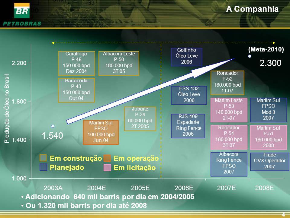 4 Produção de Óleo no Brasil Marlim Sul FPSO 100.000 bpd Jun-04 Albacora Leste P-50 180.000 bpd 3T-05 Barracuda P-43 150.000 bpd Out-04 Caratinga P-48