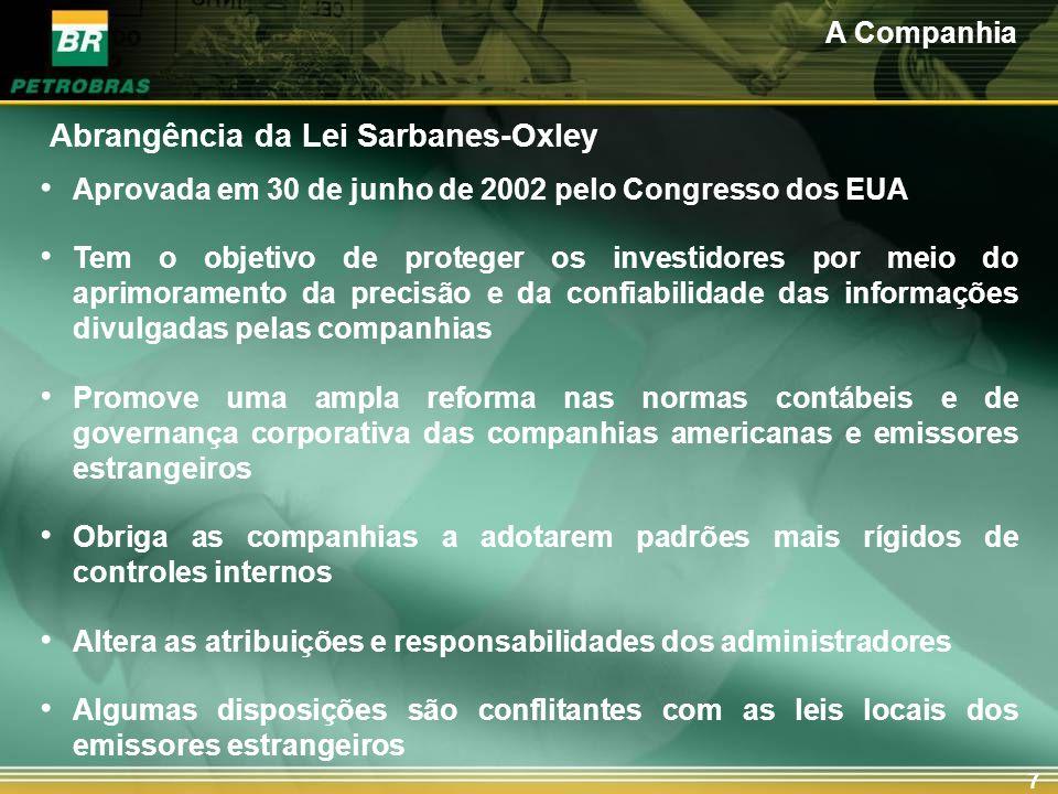 7 Abrangência da Lei Sarbanes-Oxley Aprovada em 30 de junho de 2002 pelo Congresso dos EUA Tem o objetivo de proteger os investidores por meio do apri