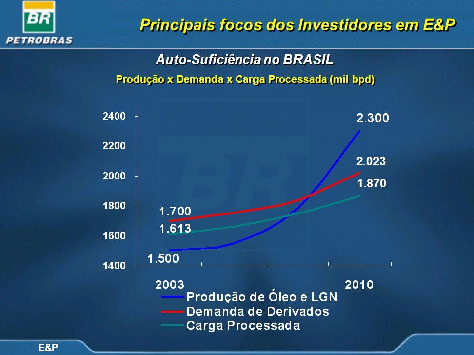 E&P 2.023 1.870 Produção x Demanda x Carga Processada (mil bpd) Auto-Suficiência no BRASIL Principais focos dos Investidores em E&P