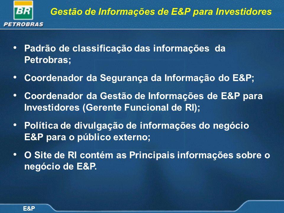 E&P Gestão de Informações de E&P para Investidores Padrão de classificação das informações da Petrobras; Coordenador da Segurança da Informação do E&P