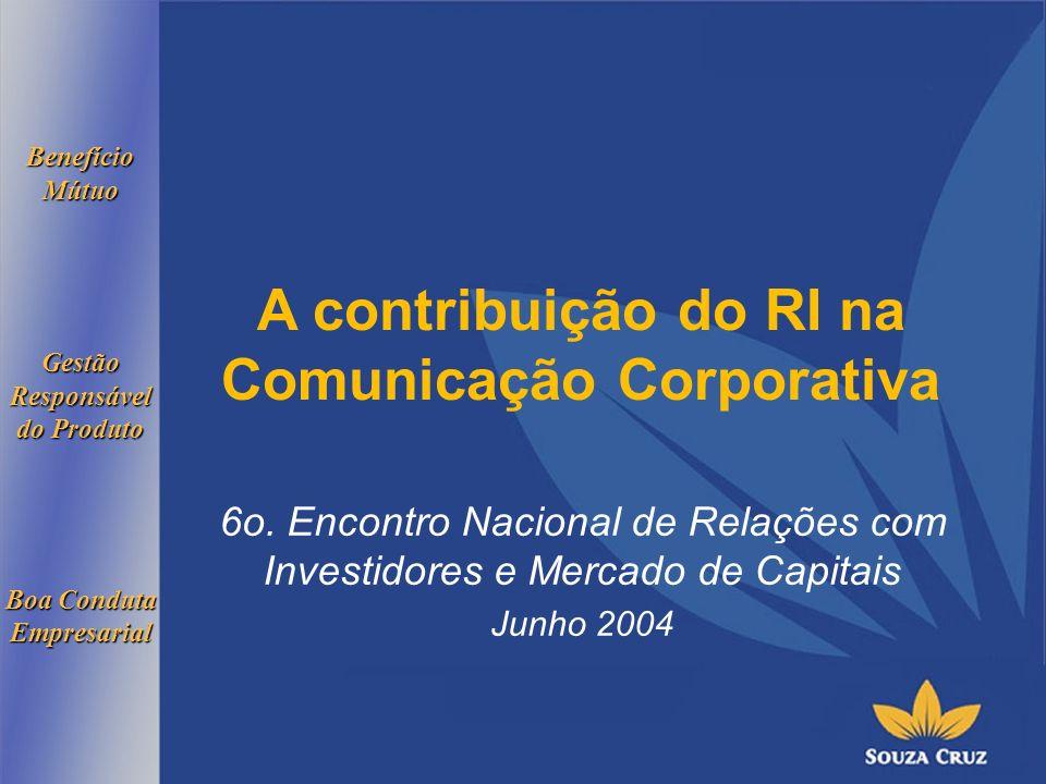 BenefícioMútuoGestãoResponsável do Produto Boa Conduta Empresarial A contribuição do RI na Comunicação Corporativa 6o.