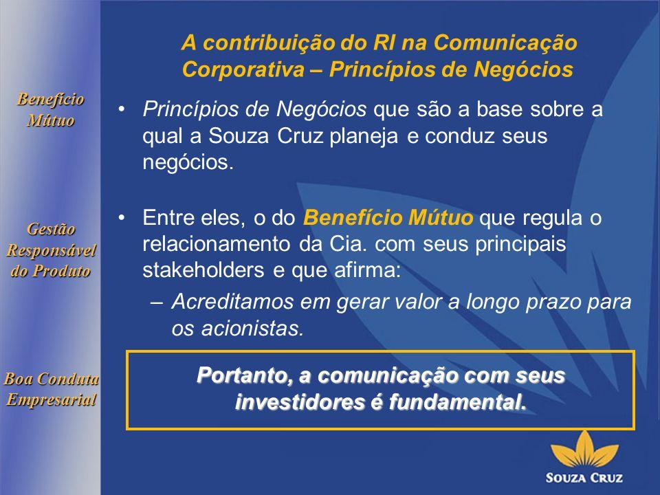 A contribuição do RI na Comunicação Corporativa – Princípios de Negócios Princípios de Negócios que são a base sobre a qual a Souza Cruz planeja e conduz seus negócios.
